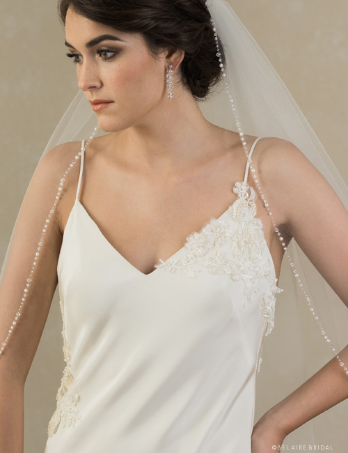 Beaded Fingertip Veil 118082