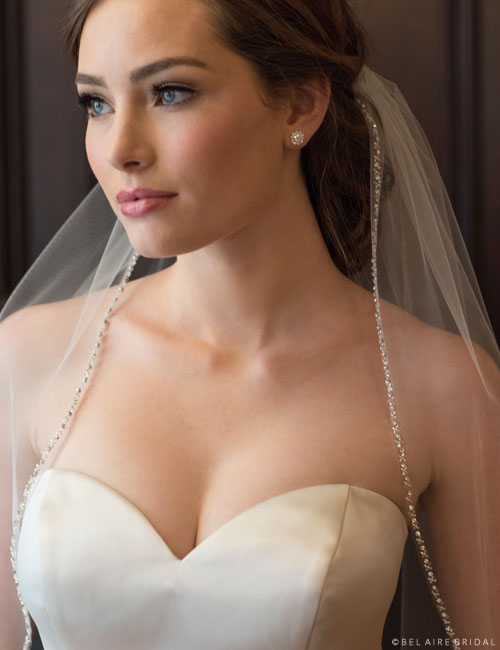 Beaded Fingertip Veil 118083
